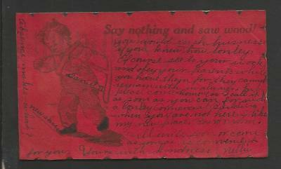 Say Nothing and Saw Wood! Vintage Leather color Card>1907>posted