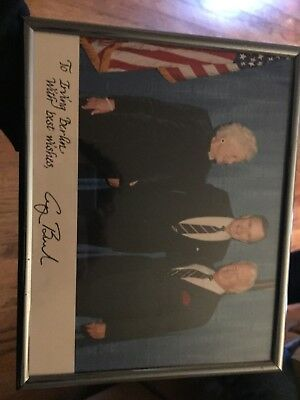 george bush signed framed photo with irving berlin