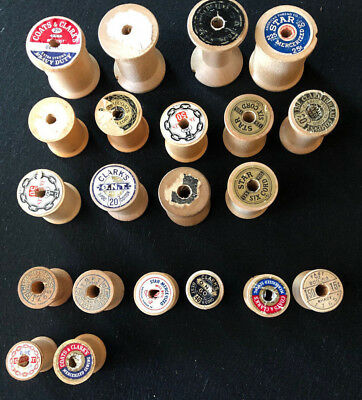 Lot of  21 Vintage Wooden Spools Without Thread