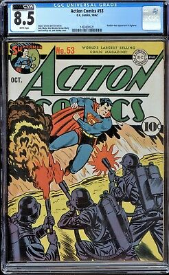 Action Comics 53 CGC 8.5 VF+ DC 1942 WP Nazi WWII Cover Superman 3rd Highest