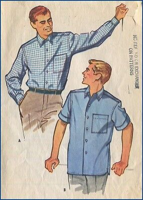 1950s Vintage Mens Shirt Straight Hem Side Vents Sewing Pattern Chest 38-40