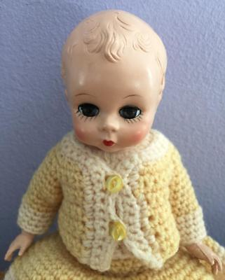 Early 1950s Madame Alexander Little Genius Baby Doll Molded Hair Crochet Outfit