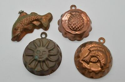 Lot of 4 Vintage Antique Copper Mini Mold Molds FISH Sunshine Pineapple