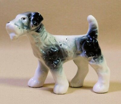 Vintage Ceramic Dog Figurine Fox-Wire Haired Terrier Black and White Porcelain