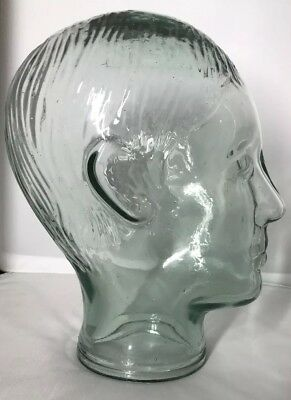 Glass Mannequin Head Display for Hats Scarves Sunglasses Wigs Green Tint Perfect