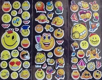 EMOJI Emoticon Smile childrens Puffy PVC Stickers 12 Packs 3 Different 4 Of Each