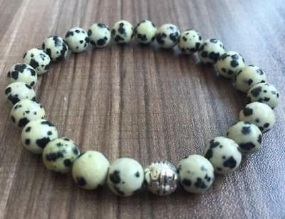 8mm Spotted stone Bracelet Monk men Reiki 7.5inches Tibet silver Unisex Stretchy