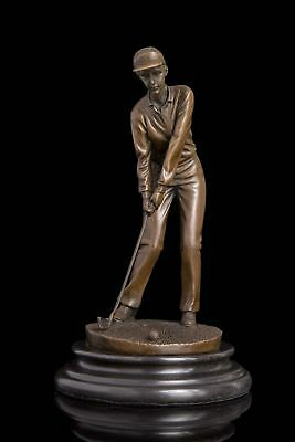 Art Deco handmade Sculpture Women Golf  Bronze Copper Statue