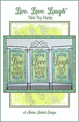 LIVE, LOVE, LAUGH TABLE DISPLAY MACHINE EMBROIDERY CD, Janine Babich Designs NEW