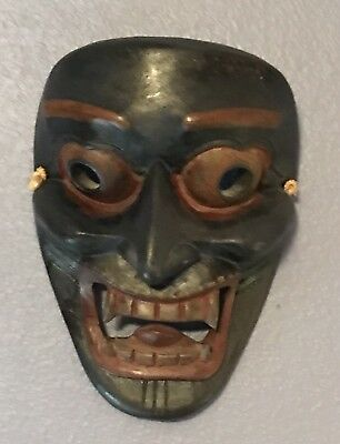 Tibetan Wood Mask Demon Wrathful  Vintage