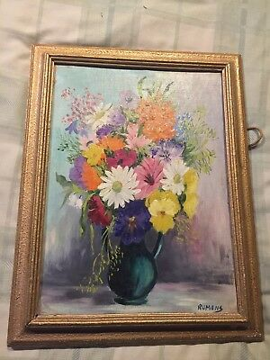 An Oil Painting by Rumens - Flowers - In a Frame with no glass