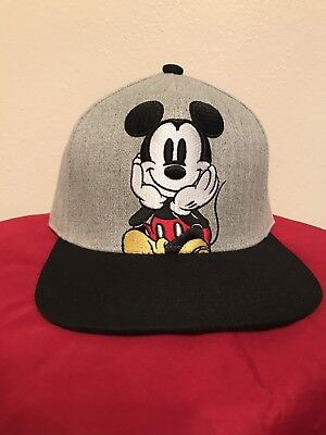 4c9c0b5eda4 Disney Mickey Mouse Gray Embroidered Flat Bill Brim Visor Snapback Ball Cap  Hat