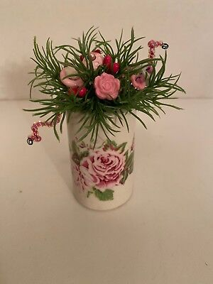 VTG Valentine Button Bouquet/Rose Vase-Country Rustic Prim Shabby Chic Decor