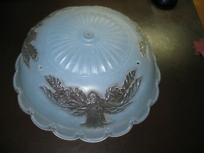 "Vintage Blue Frosted Floral Glass Hanging Light Shade 3-Chain 10 1/4"" Art Deco"