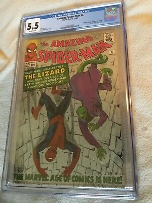 Amazing Spider Man #6 Cgc 5.5 Off White Pages First Lizard