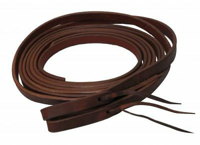 "1/2"" X 8' Oiled Harness Leather Split Reins w/ Water Loops Ties USA Made 72022"