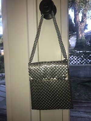 Vintage Whiting & Davis Matte Silver Mesh Purse, Nite Out Bag Fits Phone+More!