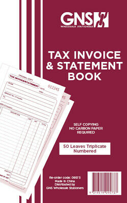 "GNS 9573 Tax Invoice & Statement Book 5"" x 8"" Triplicate Carbonless - 5 Pack"