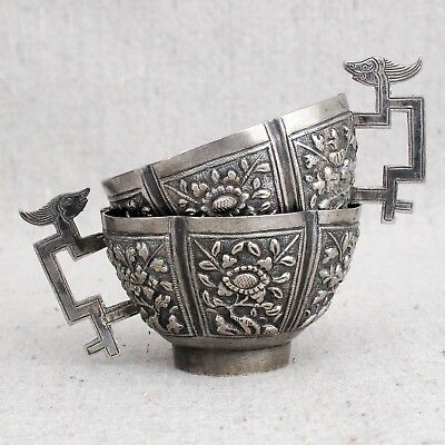 2 Small Antique Chinese Straits Nonya Peranakan Silver Tea Cups Flowers Dragons