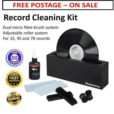 Record Cleaning Kit Brush Fluid Pads Wooden 33 45 78 RPM Cleaner Vinyl Turntable