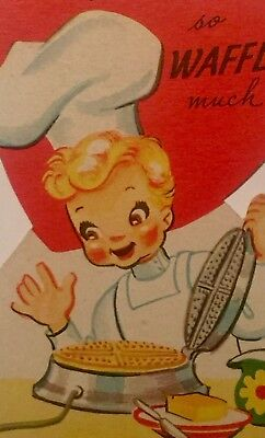 1940s Vintage Valentine Card Baker Girl in Kitchen Belgian Waffles Electric Iron