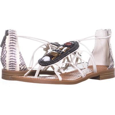 8dc27f94d84  79 SIZE 6.5 Nine West Grinning Flat White Strappy Gladiator Sandals ...
