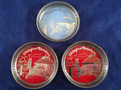 Vintage Drink Coaster Lot of 3 Whiteface Mountain Red & Blue Made in Japan