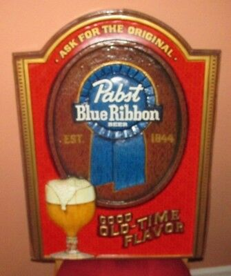 Pabst Blue Ribbon 3D Beer Sign Good Old Time Flavor Large Plastic (SO COOL)