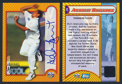Andrew Downton AUTHENTIC SIGNATURE 2000 Topps ACB Cricket Card S7