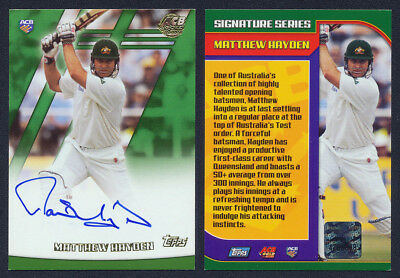 Matthew Hayden AUTHENTIC SIGNATURE 2001 / 2002  Topps ACB Gold Cricket Card