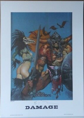 Simon Bisley Hand Signed Damage Superior 1992 Vintage Lithograph