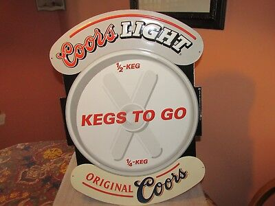 "Coors Light Beer Sign ""KEGS TO GO"" Tin/Metal 2000 (COOL)"