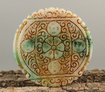 Chinese Exquisite Hand carved flower Carving jadeite jade Pendant