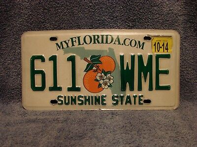 FLORIDA Sunshine State, Oranges Blossoms License Plate # 611 WME