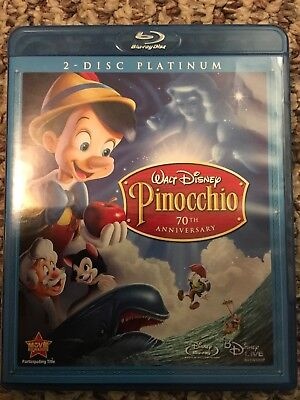 Walt Disney Pinocchio 2 Disc Platinum 70th Anniversary Blue Ray Dvd