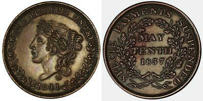 1841 Hard Times Token-May Tenth-Specie Payments Suspended-Liberty Head-HT 68-XF
