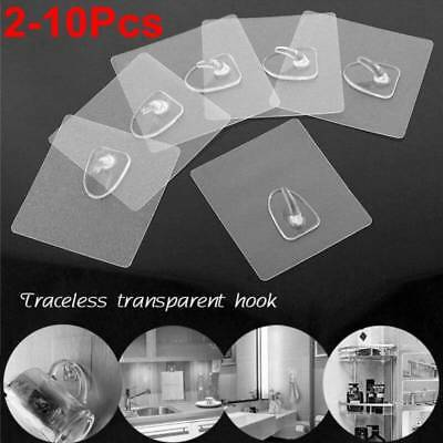 Anti-skid Hook Strong Sticky Traceless Transparent Bathroom Wall Hanging 2-10Pc