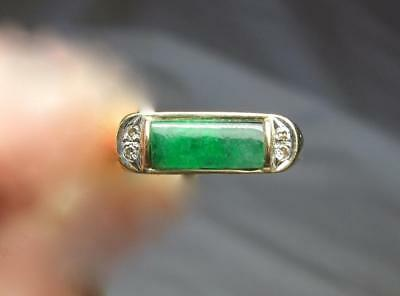 Imperial Jade Diamond Ring 14K Gold Antique Art Deco Wedding Engagement Natural
