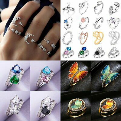 Cute Butterfly Cat Pet Footprint Adjustable Ring Top Figer Statment Ladies Gift