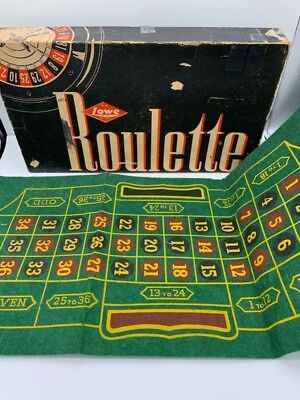 Vintage 1941 E.S. Lowe Roulette Game #907 With Box, Wheel, Balls, & Layout Mat.