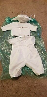 Jayne Copeland Baby Boy 3 Piece Christening Rumper and Cap Outfit 9-12 months