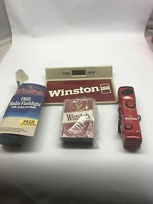 Winston Cigarette Lot Of Collectibles. Vintage Advertising Clock Radio Pack