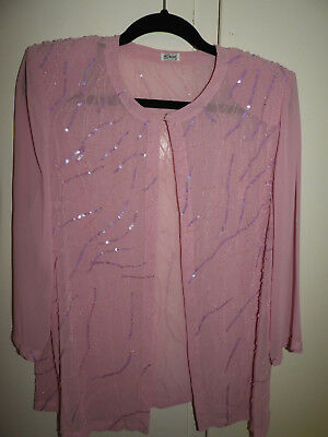 Liz Davenport - pale pink light evening jacket with beadin and sequins - size 12