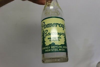 Pomeroy's Beverages Soda Bottle, Manistee, Michigan 1940