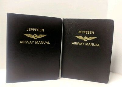 Jeppesen Airway Manual 7 Ring Lot Of 2 Binders Cowhide Leather
