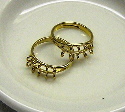 Ring base, gold-plated brass, 10 x 3mm loops, adjustable x 2