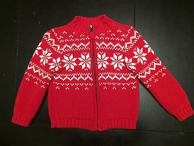 EUC Carters Red And White Cable Knit Sweater Toddler 2T
