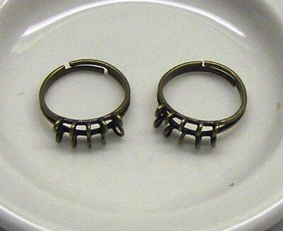 Ring base, antiqued gold-plated brass, 10 x 3mm loops, adjustable x 2