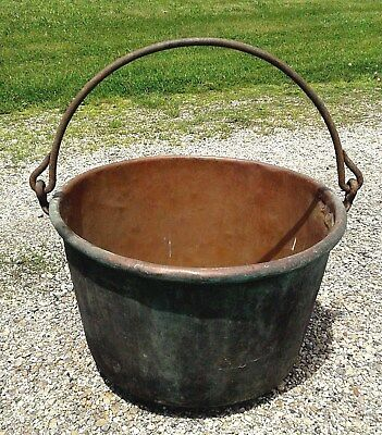 Antique Copper Apple Butter Kettle Cauldron Wrought Iron Handle Dovetail