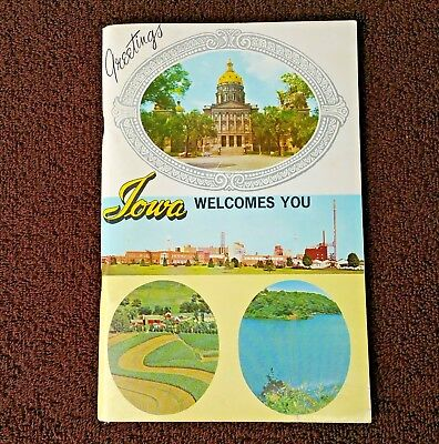 Vintage 60s Iowa Welcome Travel Guide Book  Hawkeye State Booklet